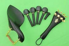 1 set new high quality ebony violin parts 4/4, chinrest, pegs, tailpiece, endpin