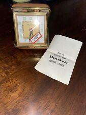 VINTAGE BULOVA AWAKE B6668 Travel alarm / desk leather clock