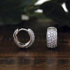 1.00 Carat Round Cut Diamond Huggie Hoop Earrings For Womens 14K White Gold Over