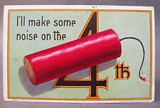 1908 Bien # 7000 I'Ll Make Some Noise On The 4th (of July) embossed postcard