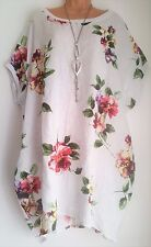New 100% Linen Oversized Tunic Dress Top White Floral uk plus 22 24 26