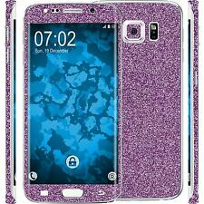 1 x glitter foil set for Samsung Galaxy S6 Edge purple protection film