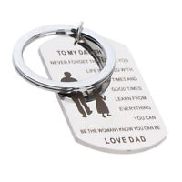To My Daughter Stainless Steel Mom Dad Family Love Keyring Pendant Keychain