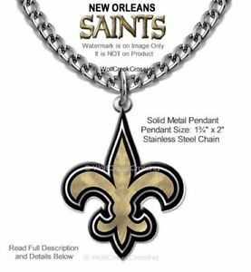 LARGE NEW ORLEANS SAINTS NECKLACE STAINLESS STEEL CHAIN NFL FOOTBALL  FREE SHIP
