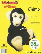 """BIG SOFTIES CHIMP CUDDLY TOY MAKING KIT By Minicraft 14"""" TALL CHIMPANZEE MONKEY"""