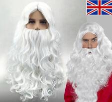 UK Fancy Santa Long Wig and Beard Adult Magician Wizard Dress Costume Accessory