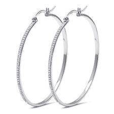 Simulated Micro Pave Diamonds Sterling Silver Hoop Earrings - 50mm