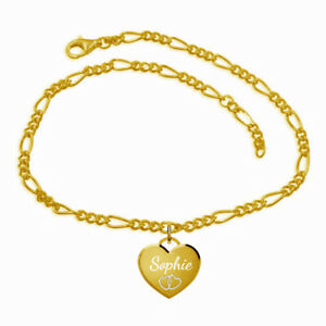Fußkette mit Herz Anhänger-Sterling Silber925, gelbgold vergoldet- Inkl.Gravur-1