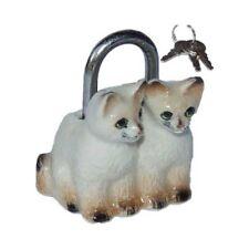 CADENAS CHATS SIAMOIS 3,5x3cm _ Sac à main bagage _ Miniature porcelaine collect