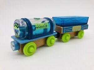 "2018 Thomas & Friends Wood ""SODOR AQUARIUM CARS""  Tanker Sting Ray Car Wooden 3p"