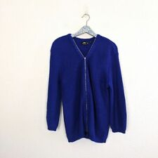 LF Y London Blue Double Zip Knit Cardigan Sweater Size Medium