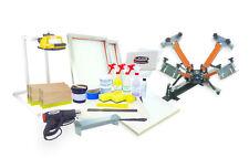 Screen Printing Press 4 color/1station, heat gun, exposure unit equipment kit