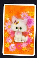 Vintage Swap  Card - Pretty White Kitten (BLANK BACK)