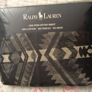Rare 1994 Ralph Lauren Tribeca Black/Cream Twin Fitted Sheet South Western NIP