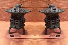 """Two Footed Pagoda Lanterns 7"""" Tall by 5 1/2"""" Cast Iron Garden Decor 0170-14019"""