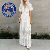 Boho Long White Maxi Dress Loose Embroidery Lace Beach Wedding Hippie Tunic S-XL