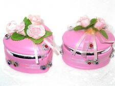 Heart shaped and oval shaped pink trinket boxes set of 2