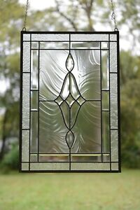 """19"""" x 27""""  Stunning Handcrafted All Clear stained glass Beveled window panel"""