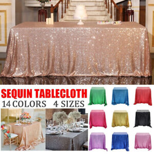Rectangle Sequin Glitter Tablecloth Sparkly Table Cloth Cover Wedding Party Deco