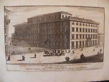 M Palazzo Giustiniani Massoneria Loggia  acquaforte originale Specchi 1700 Roma