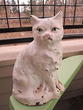 VINTAGE ORIGINAL CREATIONS COMPANY WHITE SITTING CAT #402 CAST IRON DOORSTOP