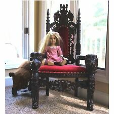 Childs 36 Inch Mahogany Lion King Throne Chair Queen Prince Princess Red Velvet