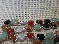 "Vtg Gemstone 18"" Necklace jade quartz tigers eye golden Sunstone Free Shipping"