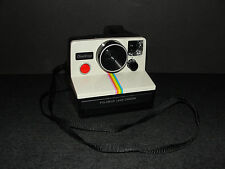 Vintage Polaroid SX-70 One Step Instant Land Camera White Rainbow Stripe TESTED