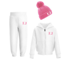 Personalised Initials Tracksuit and Beanie Set Winter Girls Boys Set Pink