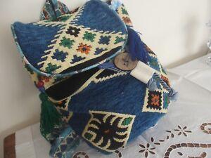 Vintage Tribal Boho Kilim Turkish Fabric Handmade Backpack Bag for women