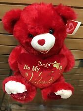 """2017 Valentine Teddy Bear Red Plush Heart Pillow Says """"Be My Valentine 18� New"""