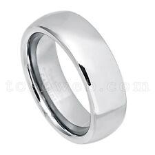 Men's Tungsten Carbide Wedding Band, 7mm Semi-Dome Pipe Cut Edge Ring TS1752