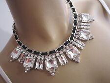 STRASS Collier Damen Hals Kette Modekette kurz Leder Silber Schwarz Statement C0