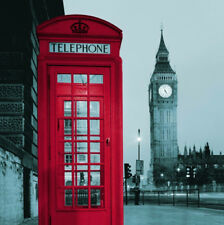 Telephone Booth Big Ben Design Shower Curtain Bathroom Waterproof Fabric 72 Inch