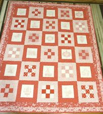 "New Usa Made Twin/Lap Size Quilt -Red & White Dutch Design Patchwork- 62"" x 73"""