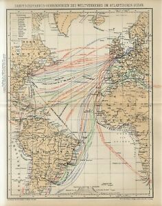 1895 ATLANTIC OCEAN SHIPPING COMPANY LINES RED STAR WHITE STAR LLOYD Antique Map