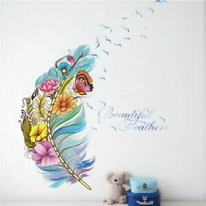 Feather Wall Sticker Colorful Butterfly Wall Decal Home Decoration Art Poster
