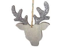 Anhänger Rentier silber aus Holz Christbaumschmuck Geschenkeanhänger Weihnachten