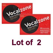 2 X Vocalzones Vocalzone - 24 Throat Pastilles for A Clear Voice FREE Shipping