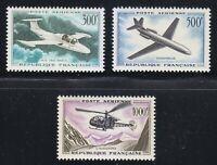 France 1957-1959 MNH Mi 1120,1170,1231 Sc C34-C36 Caravelle,Jet,helicopter ***