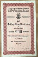 2000 Kronen Schuldverschreibung Anleihe der Stadtgemeinde Linz 1921, No. 243 !!!
