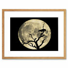 Crow Silhouette Moon Black Grey Art Picture Framed Wall Art Print