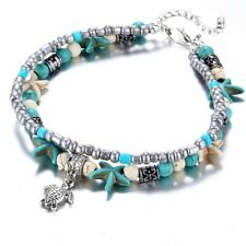 Boho Anklet Turquoise Beach Turtle Pendant Starfish Pearl Crystal Beads Bracelet