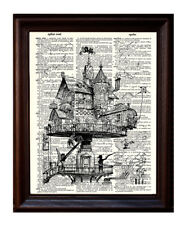Steampunk House - Dictionary Art Print Printed On Authentic Vintage Dictionary