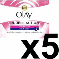 5 x Olay Double Action Moisturiser Normal Dry Skin Night Cream Classic Care 50ml
