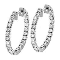 $5,000 5.00 CTW GORGEOUS NATURAL DIAMOND HOOP EARRINGS 14K WHITE GOLD