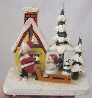 Vintage Christmas Wood Scene Santa Pulls Angel Child on Sled Trees House Japan