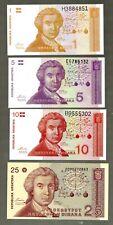 CROATIA IN EUROPE, 4 NOTES OF 1-5-10 & 25 DINARA 1991,  P-16/19, FROM BUNDLE