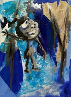 OUTSIDER URBAN STREET ABSTRACT MODERNIST FIGURE PORTRAIT STUDY PAINTING COLLAGE
