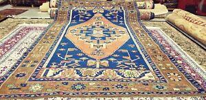 """Antique Cr1930-1939s, Wool Pile 5'5""""×9' Muted Indigo Dyes Oushak Rug"""